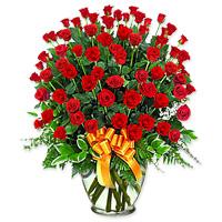 5 Dozen Roses in a Vase