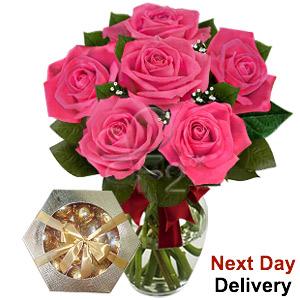 Blushing Secret- 6 Pink Roses
