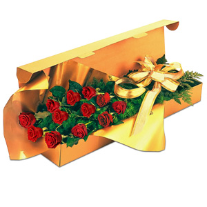Red Roses eloquently arranged in a Flat Box makes a perfect Valentine gift.