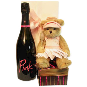 Pink Champagne with Teddy and Chocolates ShopFest Money Saver