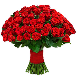 This stunning arrangement of 100 enchanting red roses makes for a heartwarming gift to floor your beloved. These medium stemmed flowers are artfully hand tied with a red satin ribbon.