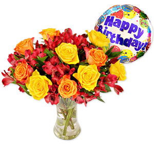 The Lovely Autumn Sunset Bouquet With Its Glowing Tones And Elegant Mix Of Different Varieties Of Roses Makes Anyone Feel Appreciated And Loved During The Cooler Seasons. Accompanied By A Jolly Happy Birthday Helium Balloon It Is The Perfect Way Of Sending Warm Birthday Wishes. Vase Not Included. Approximately 14 Inches W X 17 Inches H