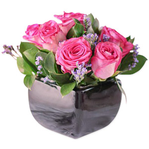 Pink Roses in Black Vase