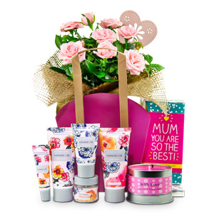 Lighten up her mood by gifting this gorgeous basket which includes Hand Cream 50ml, Body Lotion 50ml, Foot cream 30ml, Lip Balm, Bath Salts 30g, Belgian Milk Chocolate 85g, and Scented Candle with 20 hour burn time. What a perfect way to wish your mum Hap #best