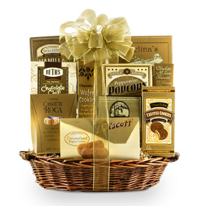 A golden collection of one of the best and delicious goodies such as wafer rolls, butter cookies, popcorn and more. Your gift will leave a lasting impression as they continue to use and enjoy this elegant keepsake basket. #gift