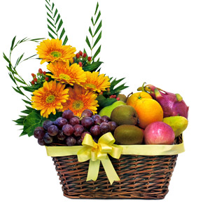 Image of Flower and Fruits Basket