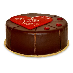 A premium sacher cake filled with nougat cream as well as apricot jam. The cake is covered in dark chocolate. The cake weighs aprox. 600g. and has a diameter of aprox. 16cm. The cake is delivered in a fail-safe gift box. The cake can contain traces of nut #best