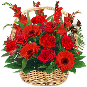 Sometimes only flowers can express your deepest feelings. This spectacular arrangement of all red flowers does it with style and eloquence. The flowers may vary according to seasonal availability.