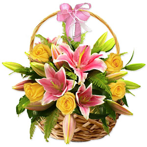 Roses and Lilies Arrangement in a Basket
