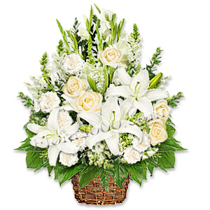 Add A Refreshing Perspective Of Style With This Luxurious Arrangement Of White And Cream Roses, Lilies, Carnation And Fillers.