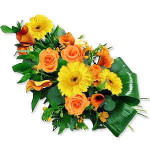 A Fond Remembrance And Expression Of Sympathy Presented Through This Classy Arrangement Of Yellow And Orange Seasonal Flowers.