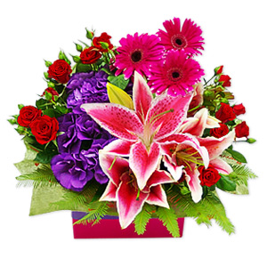 Normal can be boring which is why we created this funky bouquet overflowing with vibrant creativity. Comprised of beautiful roses, gerbera daisies and lilies, it will add style and energy to that special someones day.