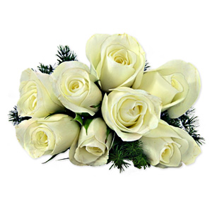 Aesthetic and evocative, add a touch of style and rhythm with this luxurious bouquet of 8 white roses in full bloom. Approximately 9 inches W x 17 inches H.