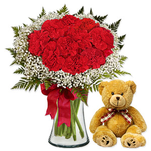 Be a sweetheart and send your sweetheart this gorgeous bouquet made entirely of red carnations, nestled in a cloud of Million Star gypsophylia and presented in a tall vase. Substitution of vase may occur if unavailable.
