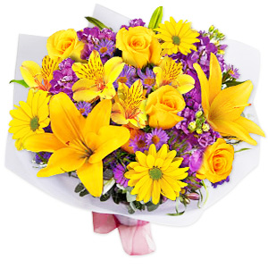 Not All Stars Are In The Heavens, The Best Ones Can Be Found Right Here In This Exotic Bouquet Of Yellow Lilies, Yellow Alstromerias, Purple Hydangeas, Yellow Daisies And Yellow Spray Roses. Hydrangeas Are Subject To Substitution