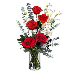 The City That Inspired The Greatest Tales Of Love Gives This Bouquet Of 5 Red Roses And Eucalyptus Leaves.