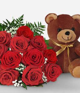 1 Dozen Red Roses Bouquet + Teddy
