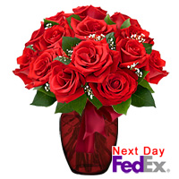 One Dozen Long Stem Red Roses by Flora2000