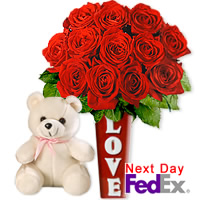 One Dozen Red Roses amp Teddy by Flora2000