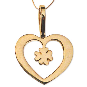 Gold Heart Pendent with Clove Leaf