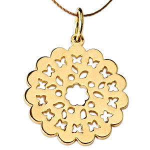 Gold Floral Pattern Pendent