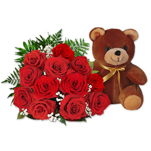 1 Dozen Red Roses Bouquet + Teddy